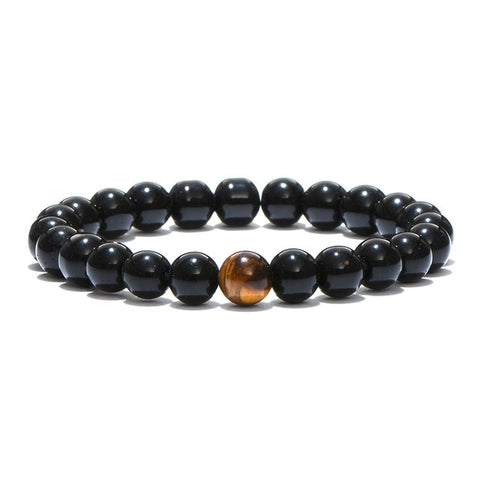 Minimalist Natural Stone Tiger Eye & Obsidian Beaded Bracelet