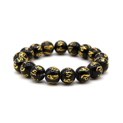 12mm Om Tibetan Natural Stone Beaded Bracelet - 12 Color Variations