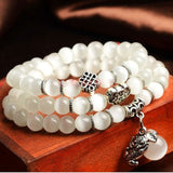Natural Opal Stone Beaded Yoga Bracelet with Detailed Buddha Charm