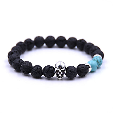 8MM Natural Black Lava Stone Bracelet with Skull - 5 Color Options