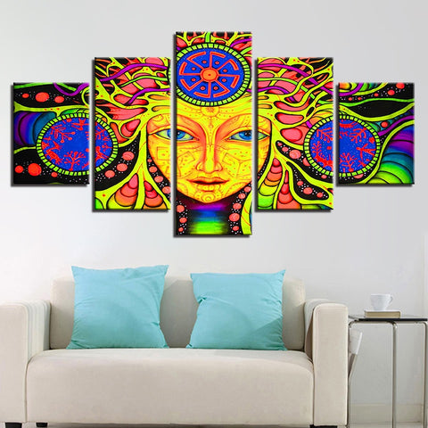 5 Piece HD Psychedelic Mandala Abstract Girl Frame Painting - 8 Size Options