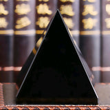 Black Natural Obsidian Pyramid Crystal