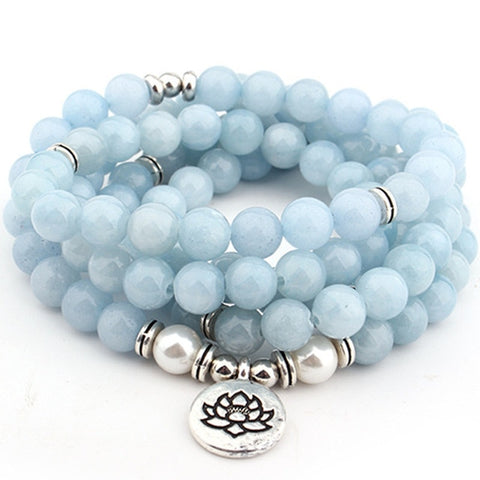 108 Bead Blue Lace Agate Mala Bracelet with Lotus Charm