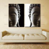 2 Panel Buddha on Canvas - 5 Size Options (Unframed)
