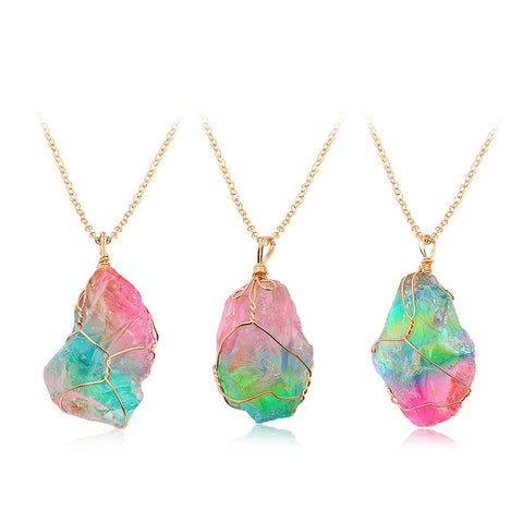 Rainbow Stone Natural Crystal Chakra Rock with Gold Plated Chain Necklace