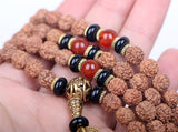 Tibetan Rudraksha & Wooden Beaded Prayer Mala