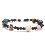 DIEZI Solar System 9 Planet Natural Stones Beaded Galaxy Bracelet