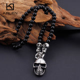 Kalen Long Onyx Bead Chain Necklace with Stainless Steel Skull Head Pendant - 2 Options