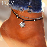 Vintage Boho Multi Layer Beaded Sun Pendent Anklet