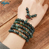 108 Bead Tibetan Moss Agate Natural Stone Healing Mala - In 6mm or 8mm