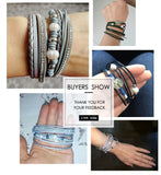 Vintage Multi Layer Leather & Pearl Charm Bracelets