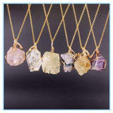 Natural Crystal Quartz Gold Line Wrapped Pendant Necklaces - 6 Variations