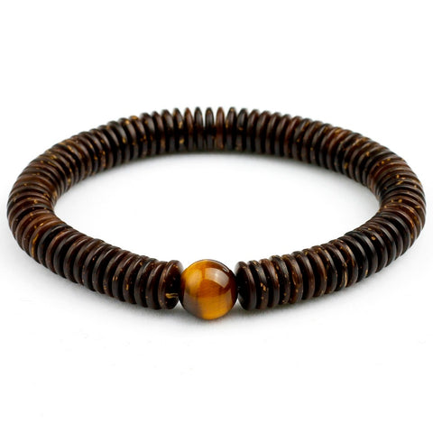 Natural Coconut Shell With 10MM Tiger's Eye Beaded Bracelet   - 4 Variations