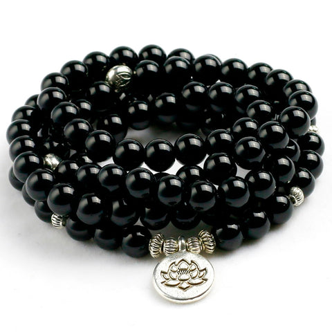 108 Natural Stone Black Onyx Mala Beads with Charm