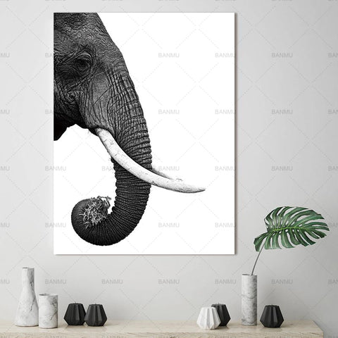Art Deco Elephant Wall Art - Frame not Included - 5 Size Options