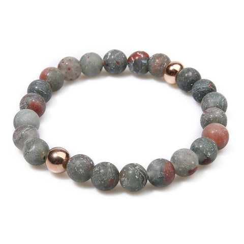 Frosted Stone & Natural Bloodstone Beaded Bracelet