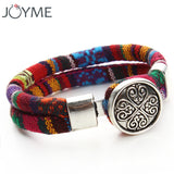 Bohemian Multicolor Snap Button Bracelet with Charm