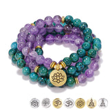 108 Natural Stone Amethyst & Moss Agate Meditation Mala Beads with Charm