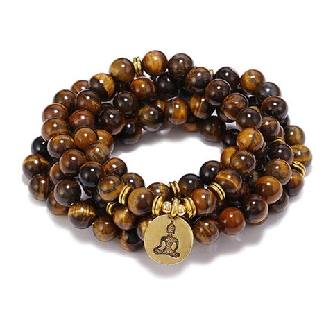 108 Natural Stone Tiger Eye Meditation Mala Beads with Charm