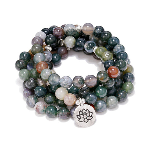 108 Natural Stones Meditation Mala Beads with Lotus Charm