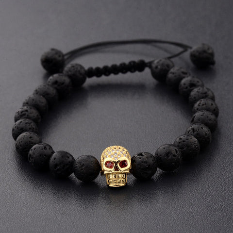 Black Natural Lava Stone Beaded Bracelet with Jeweled Skull - 7 Variations
