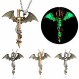 Vintage Glow in the Dark Sword Dragon Chain Necklace