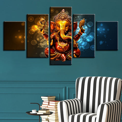 5 Piece HD Elephant Trunk God Ganesha Print on Canvas - 8 Size Options