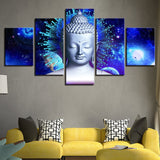 5 Piece HD Buddha And Abstract Planets Print on Canvas - 8 Size Options