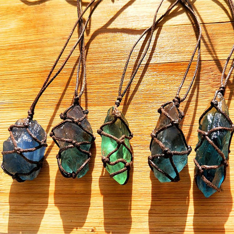 Natural Quartz & Blue-green Fluorite Crystal Stone Pendant With Hand-woven Braided Rope