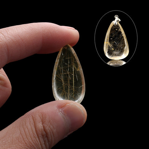 1PC Natural Yellow Citrine Crystal Polished Hairstone