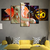 5 Piece HD Elephant God Ganesha Print on Canvas - 8 Size Options