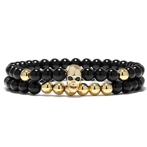 Set of 2 Badass Black Energy Yoga Skull Charm Bracelet - 4 Metal Options