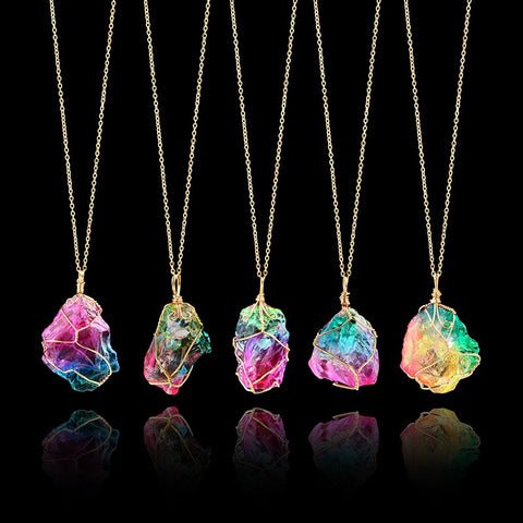 Rainbow Natural Stone Pendant Necklaces with Gold Chain