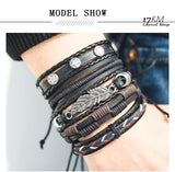 6 Design Vintage Multilayer Leather Handmade Bracelet