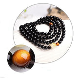 "108 Black Buddha Beads Handmade ""Glow in the Dark"" Mala Bracelet"