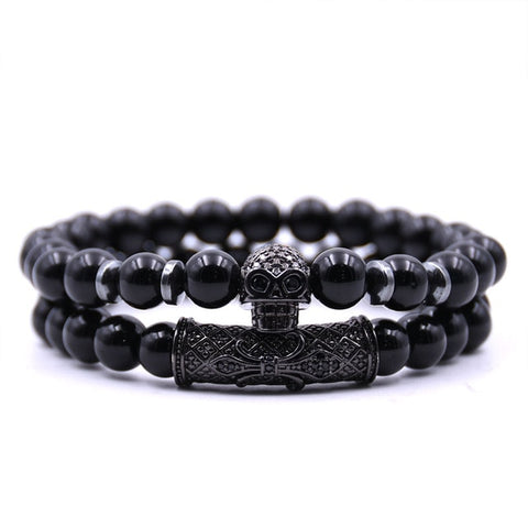2Pc/Set Badass Black Onyx with Etched Skull - 4 Metal Options