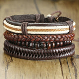 Vnox Mix 4Pcs/ Set Braided Wrap Leather Tribal Wristband Bracelets - 9 Variations