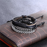 3pc/Set Multi-layer Leather Beaded & Stainless Steel Link Chain Bracelets - 15 Variations