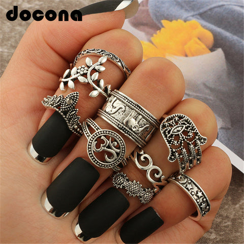 Boho Buddhist 9 Ring Set