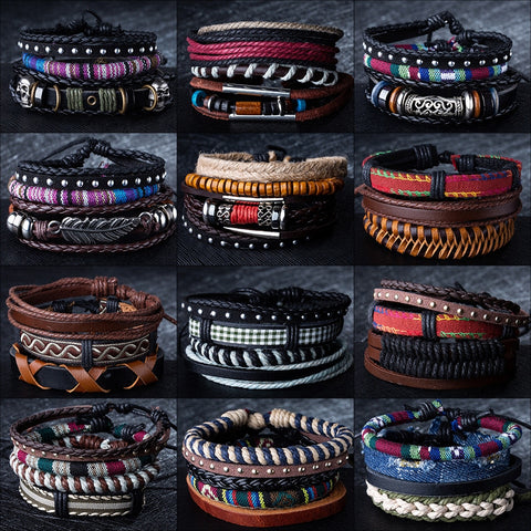 Metal & Leather Classic Retro Armband Bracelets - 12 Styles