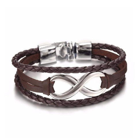 Handmade Leather Infinity Lucky 8 Friendship Bracelet  - In Brown or Black