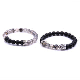 2pcs/Set Black & White Natural stone Beaded Bracelets with Crowns - 6 Color Options