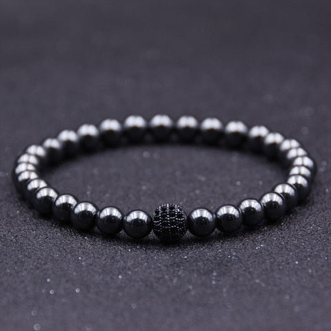 6MM Hematite Beads Bracelet with Disco Ball Charm Bracelet - 4 Color Options