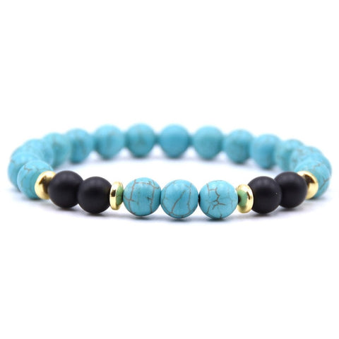 Natural Stone & Wood Beaded Bracelet 8MM - 18 Color Options