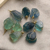 2.5 - 3cm Natural Blue-Green Fluorite Quartz Crystal Pendant Necklace - Chain not Included