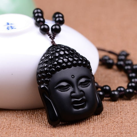Black Obsidian Hand Carved Buddha Head Pendant