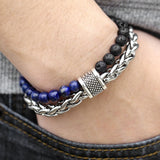 Natural Map Stone and Lava Rock Beaded Bracelet with Stainless Steel Chain and Clasp