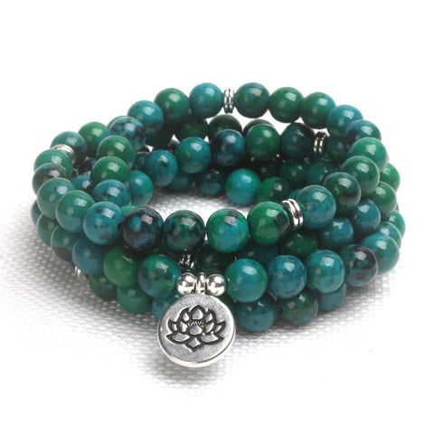 108 Natural Stone Matte Green Aventurine Mala Beads with Charm