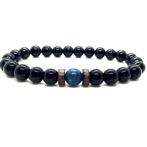 Lava Stone Diffuser Bracelet with Moonstone Guru Bead & Hardwood Spacers - 12 Variations