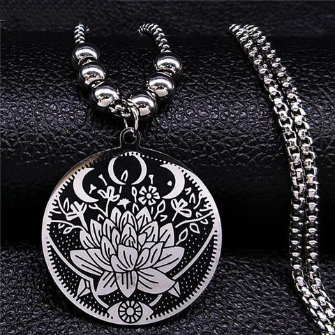 Wicca Stainless Steel Lotus Necklace - 7 Variations